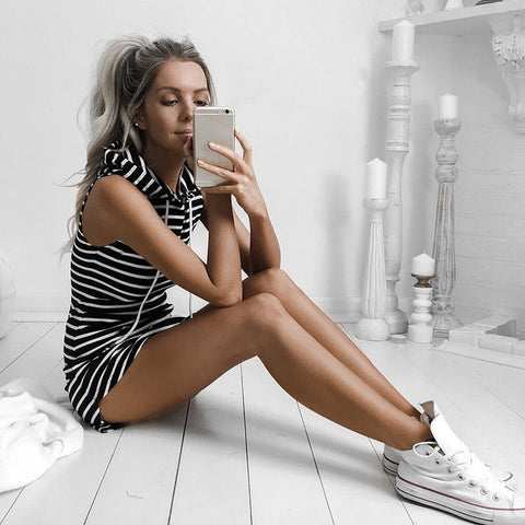 CoolSummerz - Striped Hoodie Dress