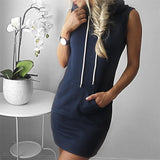 HelloDefiance, Cool Summers - Solid Navy Hoodie-Dress, best, HelloDefiancecheap