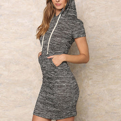 HelloDefiance, Cool Summers - Charcoal Hoodie-Dress, best, HelloDefiancecheap