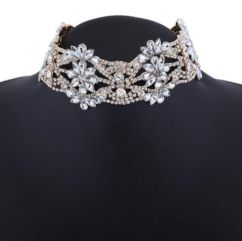 HelloDefiance, Crystal Flowers Decorated Choker, best, HelloDefiancecheap
