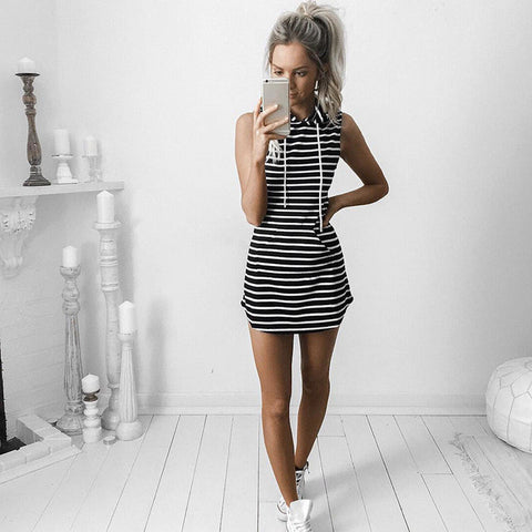 HelloDefiance, Cool Summers - Striped Hoodie-Dress, best, HelloDefiancecheap