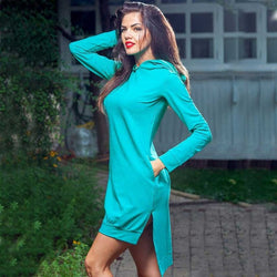 HelloDefiance, Chilly Summers - Tiffany Blue Hoodie-Dress, best, HelloDefiancecheap