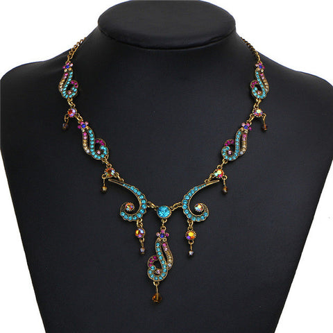 Colorful Crystal Tassel Necklace