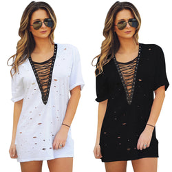 Lace Up V Mini-Dress