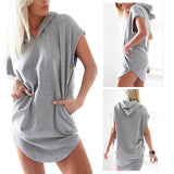 Side Cut Hoodie Dress - V Neck
