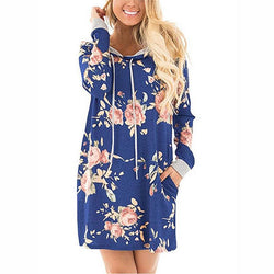 Floral Hoodie Dress w/ Pockets