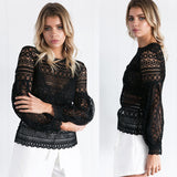 Hollow Lace Blouse w/ Flared Sleeves
