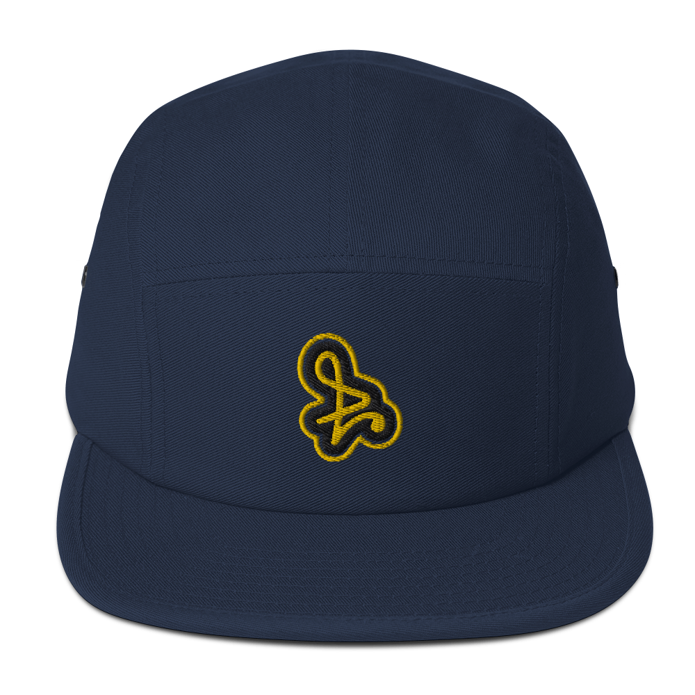 Navy with Yellow Logo Five Panel