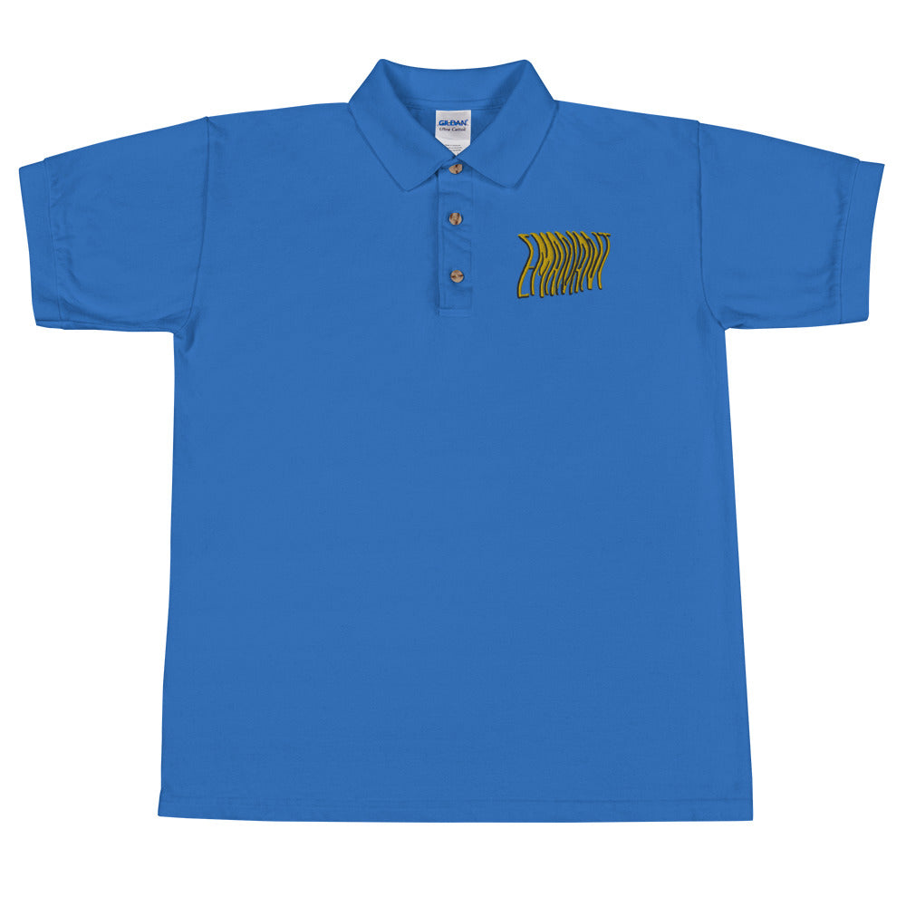 Embroidered Wavy Polo Shirt