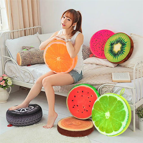 Plush Toys 3D Summer Print Fruit Office Chair Back Cushion Sofa Throw Pillow Free shipping - Plush Toys Center