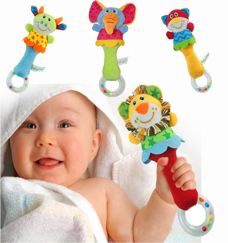Baby Rattle Toys Animal Hand Bells Plush Baby Toys - Plush Toys Center