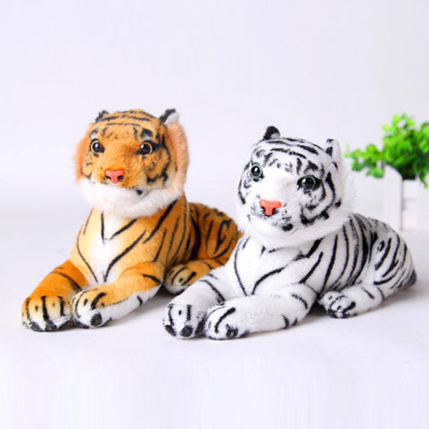 25cm Cute Plush Tiger Animal Toys White Yellow Lovely Stuffed Doll Animal