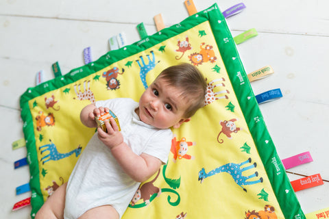 Sunny Jungle Baby Charm Blanket recording baby's first moments