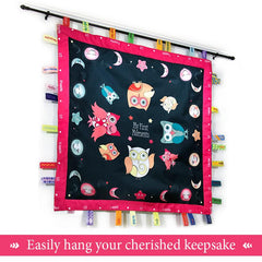 Owl keepsake blanket with memory ribbons