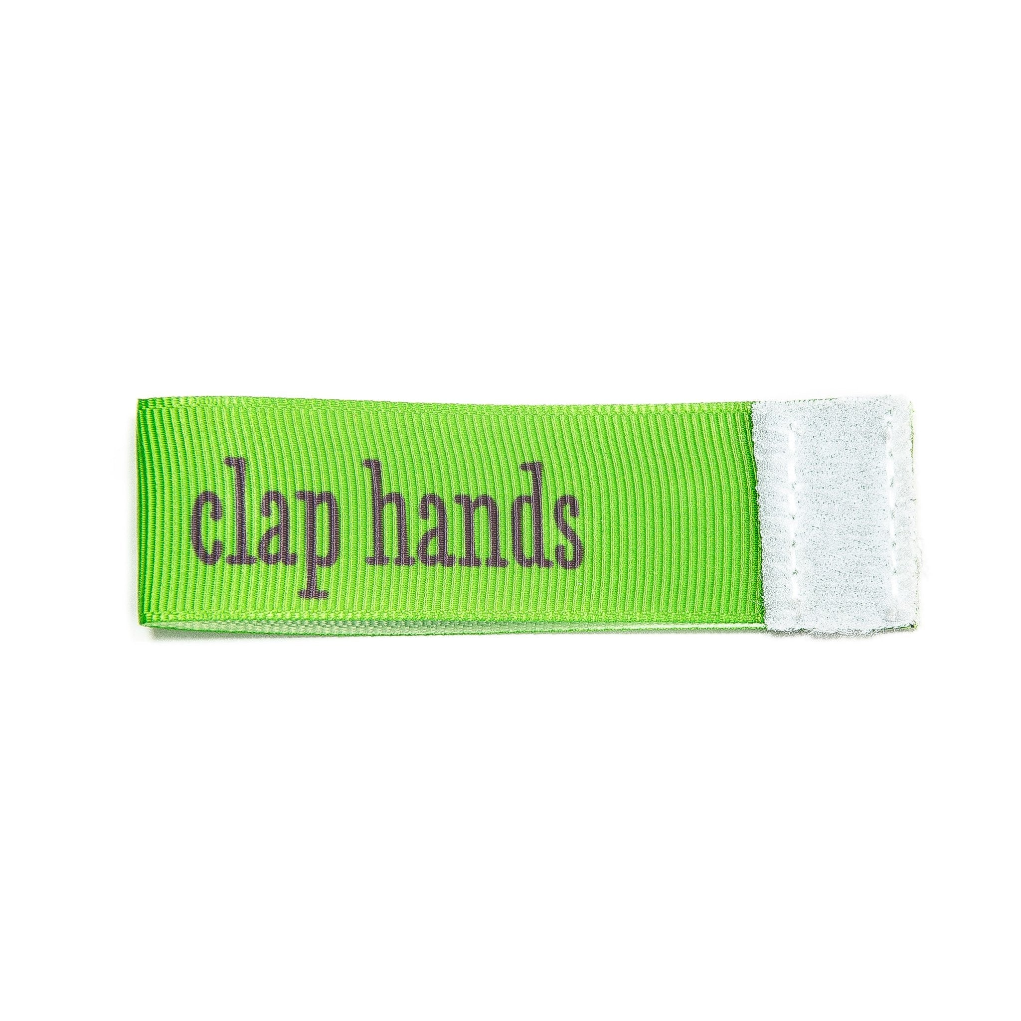 clap hands Wee Charm ribbon green