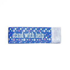 stand with help Wee Charm ribbon blue