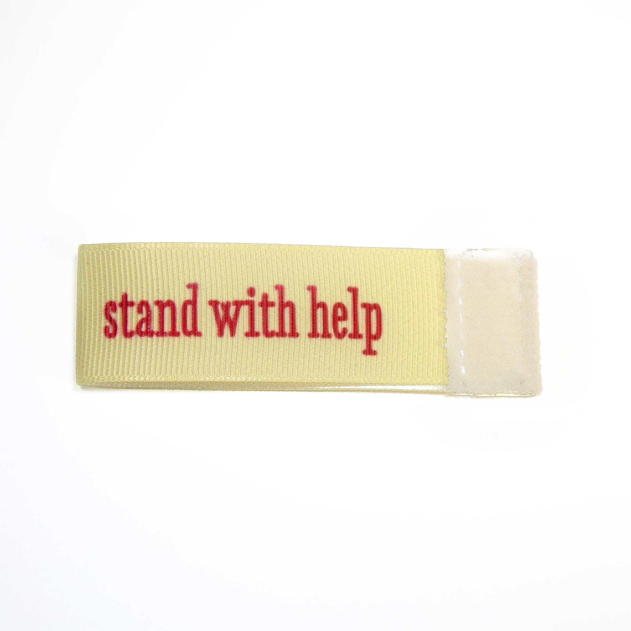 stand with help Wee Charm ribbon ivory