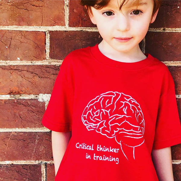 Critical thinker red kids unisex gender neutral tshirt smash tees