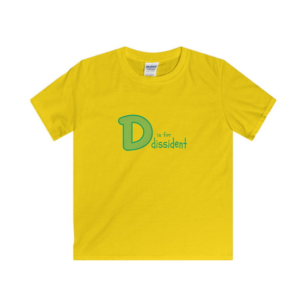 D is for Dissident.  Youth's Unisex Short Sleeve Tshirt - Smash Tees