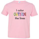 I Color Outside The Lines (US Spelling). Kid's Unisex Short Sleeve Tshirt