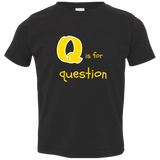 Q is for Question. Kid's Unisex Short Sleeve Tshirt