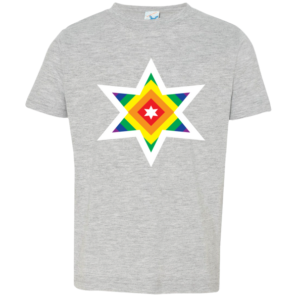 Rainbow Star White. Kid's Unisex Short Sleeve Tshirt