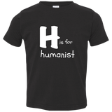 H is for Humanist. Kid's Unisex Short Sleeve Tshirt