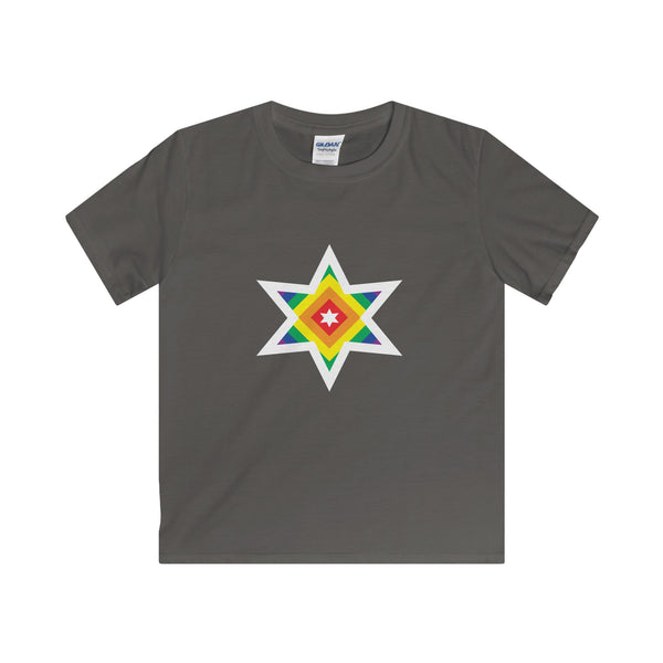 Rainbow Star.  Youth's Unisex Short Sleeve Tshirt - Smash Tees