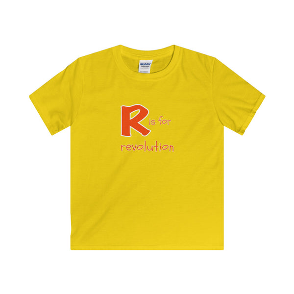 R is for Revolution.  Youth's Unisex Short Sleeve Tshirt - Smash Tees