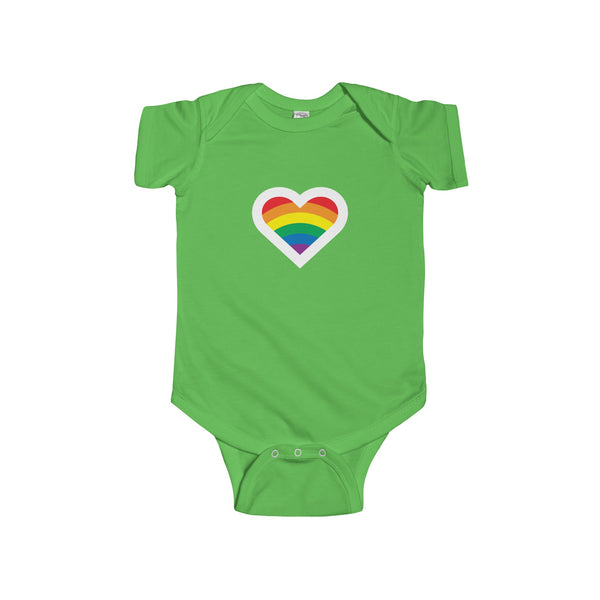 Rainbow Heart.  Baby's Unisex Short Sleeve Onesie - Smash Tees