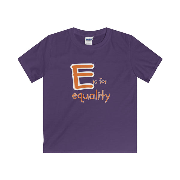 E is for Equality. Youth's Unisex Short Sleeve Tshirt - Smash Tees