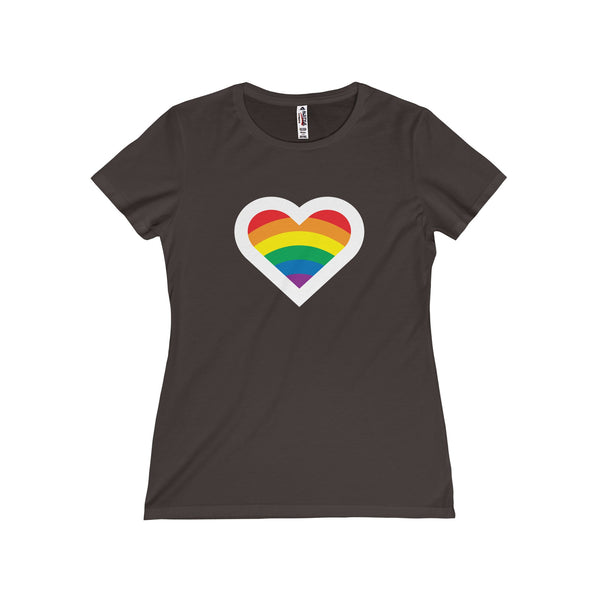 Rainbow Heart.  Women's Fitted Short Sleeve Tshirt - Smash Tees