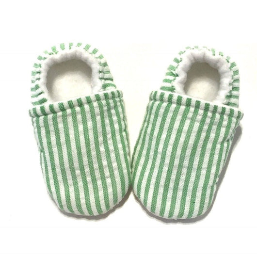 Seersucker Green Baby Shoes