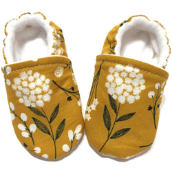 Mustard Yellow Floral Baby Shoes