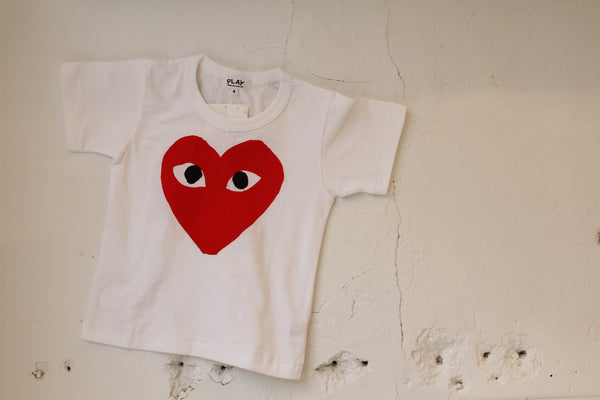 Comme des Garcon PLAY: Kid's Heart Logo Tee (White) Comme des Garcon PLAY - Nowhere