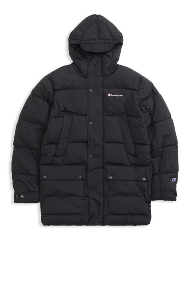 Champion: Padded Longline Hooded Popper Jacket (Black) Champion - Nowhere