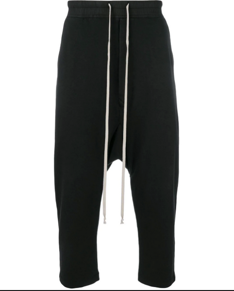 Rick Owens DRKSHDW: Drawstring Cropped Pants (Black)