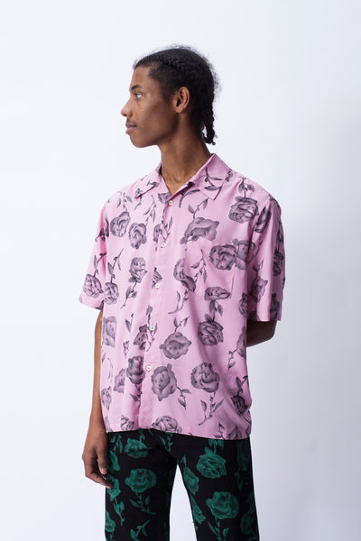 Aries: Rose Bowling Shirt (Pink)