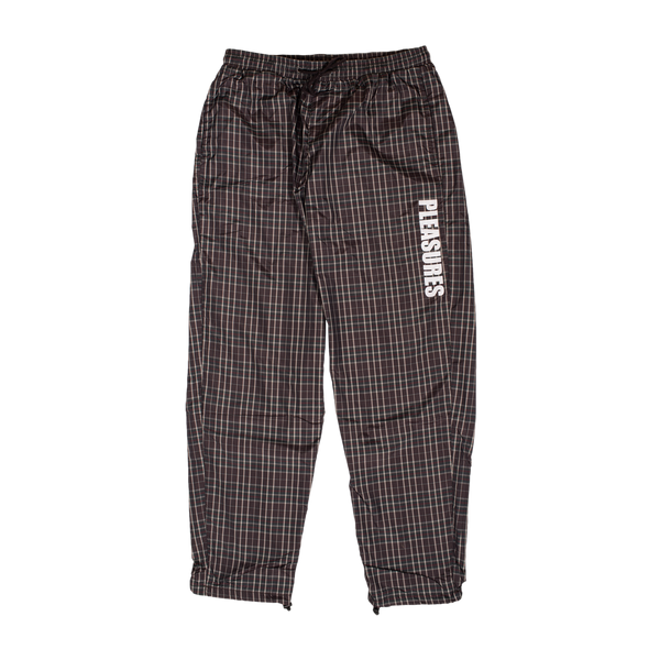 PLEASURES: Plaid Athletic Wind Pant (Brown) PLEASURES - Nowhere