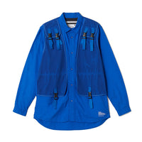 White Mountaineering: Woven Military Vest Shirt (Blue)