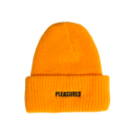 PLEASURES: Standard Logo Beanie (Gold) PLEASURES - Nowhere