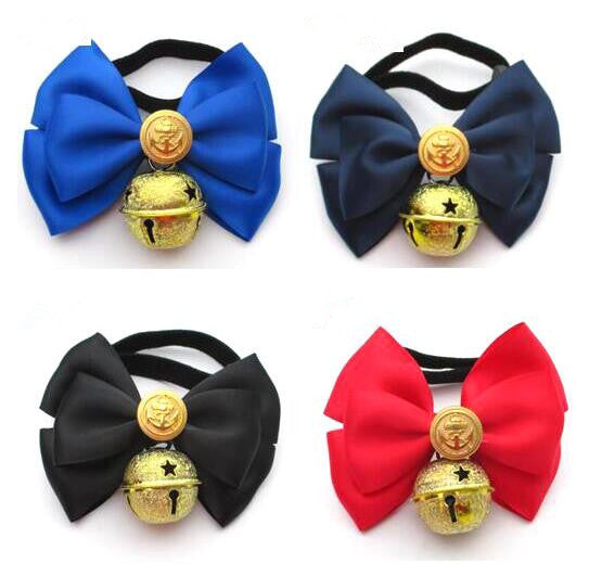 Handmade, Adjustable Dog and Cat Bow Tie with Collar Bell and Navy Button - mycosypet