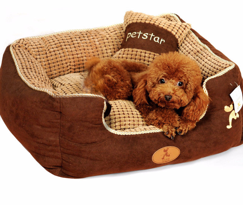 Khaki-Colored Dog Sleeping Bed with Soft Cushion and Pillow - mycosypet