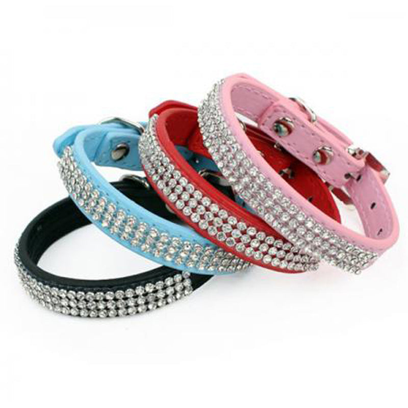 Leather-Made Dog Collar with Small Rhinestones - mycosypet