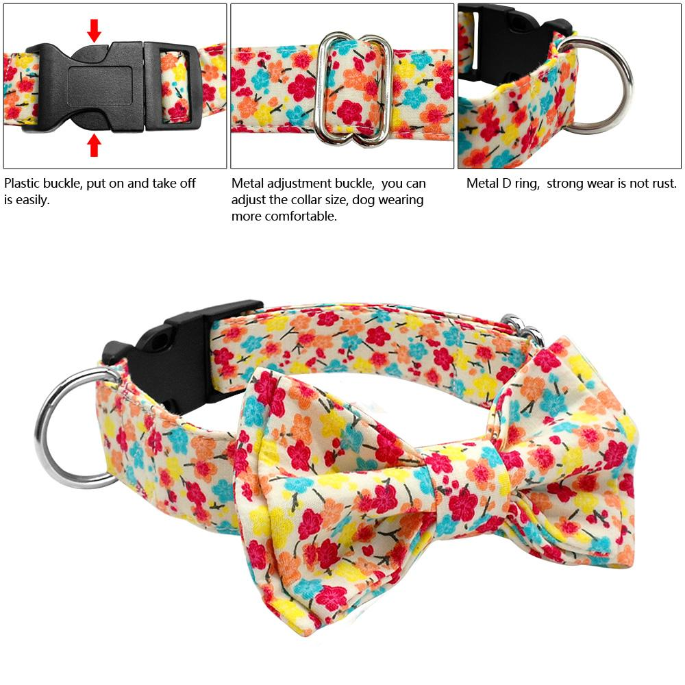 Adjustable Printed Pet Collar with Bow - mycosypet