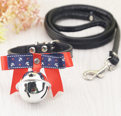 Fashion Adjustable Dog Collar Small Animal Leash Dog Cat Pet Cute Bow Tie With Bell Necklace Puppy Kitten Necktie Collar 2 Size - mycosypet