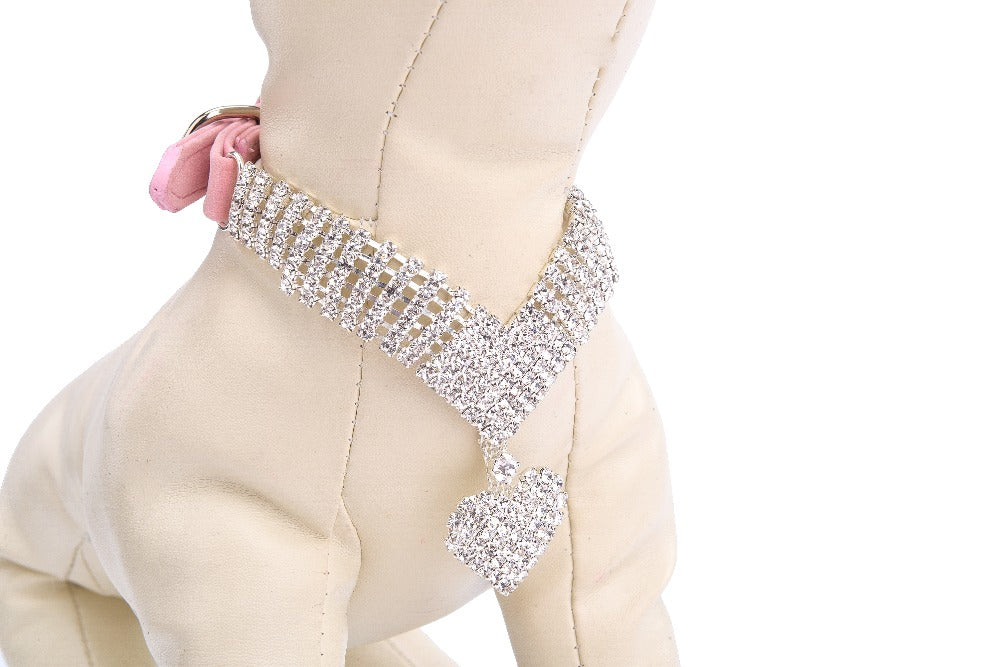 Chic Dog Collar with Rhinestones and Heart Pendant - mycosypet