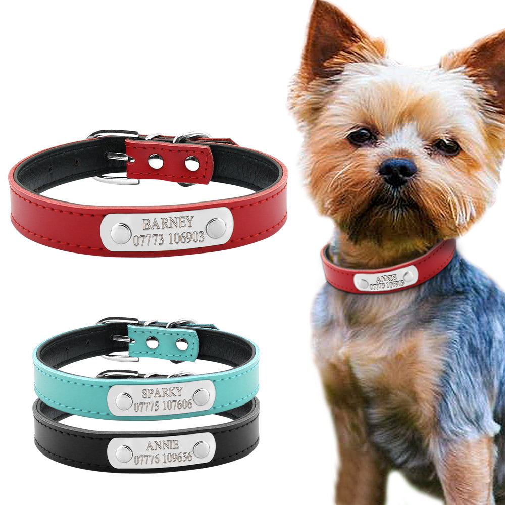 Personalized Leather Small and Medium Dog Collars with Name Engraving - mycosypet