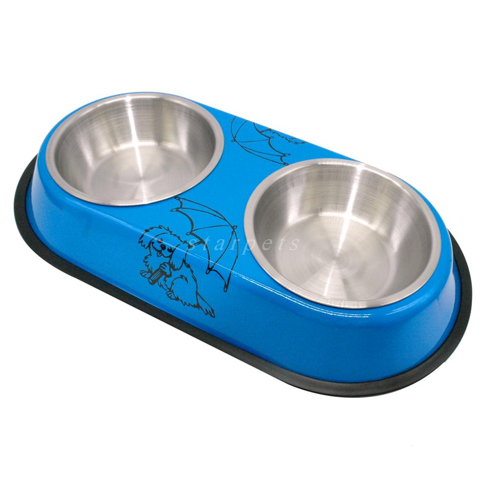 Stainless Steel Dog Drinking and Feeding Bowl with Cute Prints - mycosypet