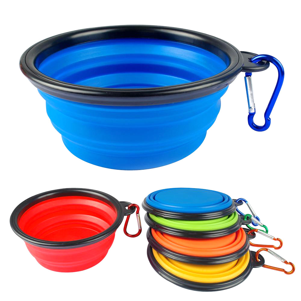 Silicone-Made, Foldable Dog Feeding and Drinking Bowl in Bright Colors - mycosypet